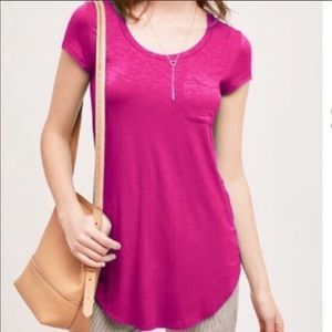 NEW Anthropologie Pure + Good Hot Pink Pocket Tee